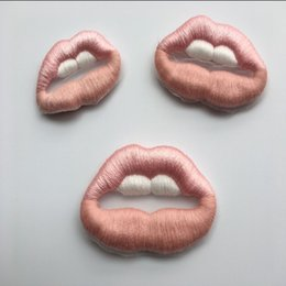 Wholesale Lips Accessories - embroidered appliques pink lip pattern sew-on patches accessories for clothing zakka patchwork DIY