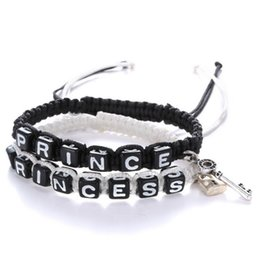 Wholesale Prince Gift Set - Wholesale-2pcs Prince And Princess Charm With Lock And Key Black Rope Lovers Couple Bracelet Love Bracelet Anniversary Wedding Gift