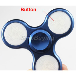 Wholesale control stress - Alloy Hand Spinner with LED light EDC Handspinner Fidget Spinner Tri-Spinner Fidget Adults Focus Anti Stress Gifts with button control + box