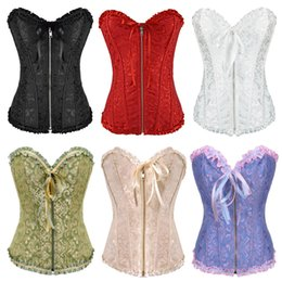 Wholesale Lace Front Corset - Free shipping!! Gothic Brocade Corset Black With Zipper Front And Lace Back Wholesale And Retail 8107