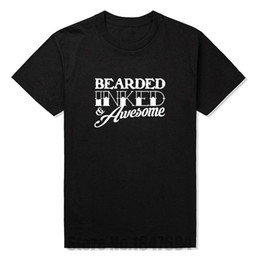 Wholesale White Tattoo Inks - Wholesale- New T Shirt Men BEARDED INKED & AWESOME Printed Beard Tattoo Fathers Day T-shirt Tees Mens Tshirt Short Sleeve Cotton O Neck