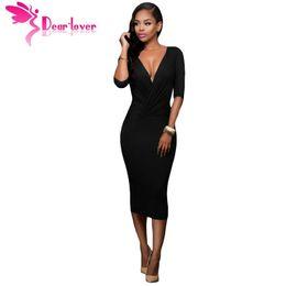 Wholesale Sexy Ropa - Fall 2016 Women Clothes Office Ladies Black Two-way V-neck Bodycon Midi Dress Ropa Mujer Vestidos de Inverno LC61204 17410