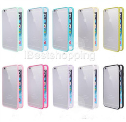 Wholesale Gel Covers For S4 - Mat PC+TPU Soft Clear Transparent Gel Cover Cases For Iphone6 6 6s plus 5 5S Galaxy S6 S5 S4