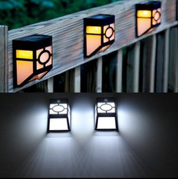 Wholesale Pathway Landscape Lighting - Solar Powered Wall Mount LED Light Outdoor Path Yard Garden Fence Landscape Lamp LED Light Pathway Lights 20pcs OOA3135
