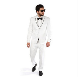 Wholesale Custom Skinny Ties - Wholesale- New Men suits Custom man suits Slim Fit White Tuxedo Fashion Suit with Modern Black Trim Handsome Man suits(jacket+pants+tie)