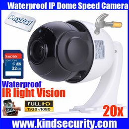 Wholesale Dome Cctv Sd - Freeship CCTV 1080P 2MP 20X optical zoom outdoor high speed onvif PTZ dome camera network IP dome ptz camera with 32GB SD card