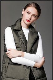 Wholesale Womens Black Winter Vests - 2018 long army green white black womens vests outerwear sleeveless women coats high quality winter thick womens outweaer coats