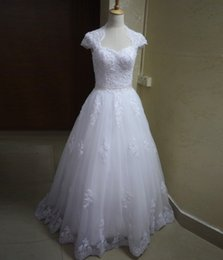 Wholesale Capped Sleeve Lace Gown - New Bride Dresses Sweetheart White Lace Wedding Gowns Cap Sleeves Appliques Beads Vestidos de Novia Court Train Open Back Bride Dresses