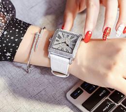 Wholesale Watch Face Sales - Hot Sale New Fashion dress Diamond Wristwatch Colorful Brand Genuine leather clock Quartz Watches Women Clock full diamond square dial face