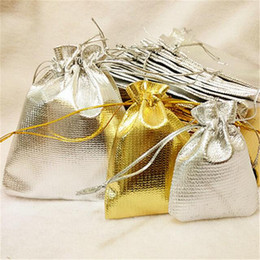 Wholesale Gold Drawstring Organza Bag - Gold Silver Foil Organza Bag Drawstring Jewelry case Pouch Bags Candy Earing ring Wedding gifts packing package storage bags free shipping