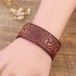 Wholesale Making Knots - New Design Three Screw Knot Punk Unisex Leather Belt Wristband Bangle Cuff Bracelet Fashion Simple Brown Jewelry Making