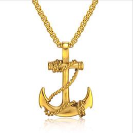 Wholesale Titanium Cross Necklace Men - Retro Titanium Boat Anchor Necklace for Men Punk Style Cross Stainless Steel Man Pendant Jewelry For Valentine Boyfriend Gift