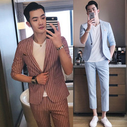 Wholesale Korean Suit Clothing - (Jacket+Pants) suit male new stage costumes Korean style fashion slim 2 pieces set casual clothes singer DS star show prom party performance