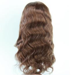 "Wholesale Long Brown Wavy Lace Wigs - Virgin Brazilian Body Wave Hair Full Lace Wigs #1 #1B #4 130% Human Hair Glueless Full Lace Wig Soft Wavy Wigs 10""-30"""