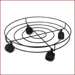 Wholesale Metal Flower Stands Wholesale - 2PCS Strong Metal and Plastic Removable Round Flower Pot Stand With Omni-directional Wheel 2 With Brakes For Home Sitting Room Balcony Tools