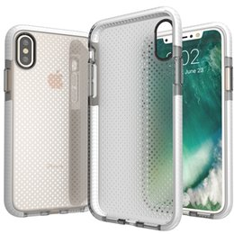 Wholesale Apple Integrated - Transparent Clear Crystal Mesh Pattern Case For iPhone 8 Full Protection Cover Integrated D30 Technology With Opp Bag