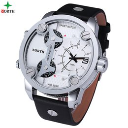 Wholesale Outdoor Watch Faces - Men Sports Watches Brand Fashion Man Leather big face Outdoor Military Army Wrist Watch 3 Time Zones male quartz clock relogio masculino