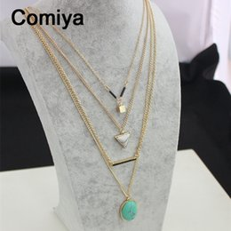 Wholesale Multi Stone Pendants - Wholesale-Comiya brand Turquoise Marbled Stone pendant necklaces for women multi layer necklace gold accessories bijoux femme