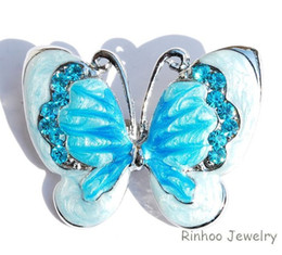 Wholesale Bridal Butterfly Brooch - Wholesale- Fashion rhinestone Crystal Butterfly Brooches pins For Women Wedding Jewelry For Bridal