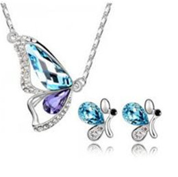 Wholesale Butterfly Diamond Wedding Necklace - DHL Austrian Crystal Butterfly Silver Plated Jewelry Set Charms Full of Diamond Earrings And Necklaces Bracelets Set