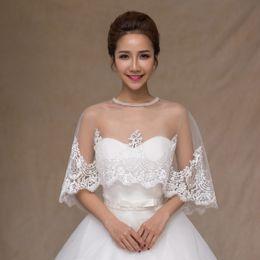 Wholesale Lace Shawls For Weddings - Cheap Bridal Wraps Modest Alencon Silver Lace Crystals Hot Sale Wedding Bridal Bolero For Wedding Dresses O Neck Lace Applique Jacket