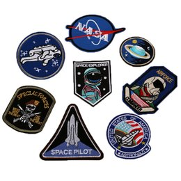 Wholesale free shipping iron patches - 8pcs Astronaut Air Diver Patches logo Iron On Cheap Embroidered Patches Appliques For Clothing Patch Badges Military Free Shipping