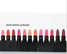 Wholesale Different Coloured Lipsticks - Free Shipping 12Pcs Brand MATTE Lipstick Makeup High Quality Cosmetics 12 Different Colours 4.2g
