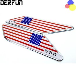 Wholesale Vinyl Flag Stickers - 2x United States USA American Flag For Cadillac Chevrolet Ford Buick JEEP Front Fender Wing Emblem Badge Decals Sticker