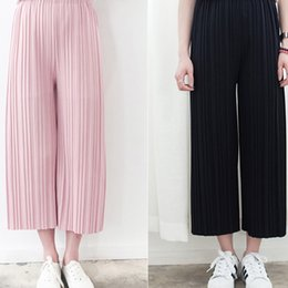 Wholesale Korean Casual Stripe Pants Women - fashion women New Korean version the simple solid color vertical stripes casual pantyhose Pleated wide leg pants