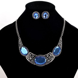 Wholesale Gemstone Earring Pendant - 2017 Oval Blue Gemstone Earrings Necklace Sets Women Vintage Alloy Pendant Short Necklace Antic Silver Plated Necklaces Stud 5PCS