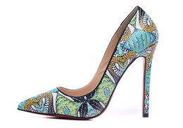 Wholesale Teal High Heels Wedding - Free shipping fashion Women Green print python leather point toe high heels pumps genuine leather 120mm thin heel brand new genuine leather