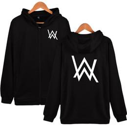 Wholesale 4xl Zip Up Hoodie - Wholesale- Autumn Winter Harajuku Hip Hop Sweatshirt DJ Alan Walker Fleece Hoodies Men Zip-Up Vetements Hoodie Oversized Sudaderas Hombre