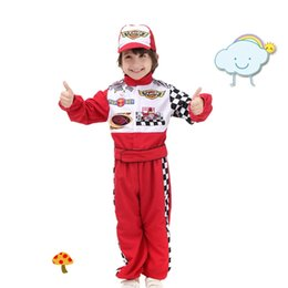 Wholesale Stage Driver - New Style Stage Costumes Children's Halloween Cosplay Wear The Red Race Car Driver Uniform Masquerade Costume Cloth