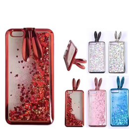 Wholesale rabbit silicon case - For iPhone8 7 Plus Electroplating TPU cover Rabbit Ear Stand Holder Case For iPhone 7 8 Plus Soft Silicon Glitter Liquid Quicksand Case