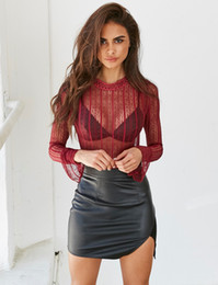Wholesale Long Black See Through Blouse - Black Lace Blouse Long Flare Sleeves 2017 Fashion Sheer See Through Women Blouses Hollow Out Summer Tops Sexy Ladies Shirts