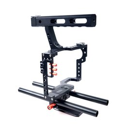 Sony a7r online-Mirrorless Camera Rod Rig Cámara Video Stabalizer Video Cage Kit Handle Grip para Sony A9 A7 A7II A7 A7 A700 II A6500 A6300, Panasonic GH4 GH3