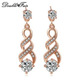 Wholesale Crystal Gifts For Women - Plant Rose White Gold Plated Charm Earrings Fashion Jewelry For Women As Anniversary Gift Crystal Wholesale DFE725   DFE544