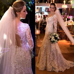 Wholesale Sparkly Bodice - Sparkly Vintage Lace Wedding Dresses 2018 Long Sleeves Crystal Beads Illusion Back Mermaid Long Arabic Bridal Gowns Plus Size Cutomized