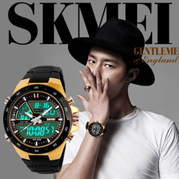 Wholesale Military Diving Watches - SKMEI Brand Casual Men Sports Watches Digital Quartz Women Fashion Dress Wristwatches LED Dive Military Watch relogio mascul 2017 New Design