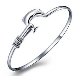 Wholesale Mesh Link Bracelet - 20pcs lot hot gift factory price 925 silver charm bangle Fine Noble mesh Dolphin bracelet fashion jewelry