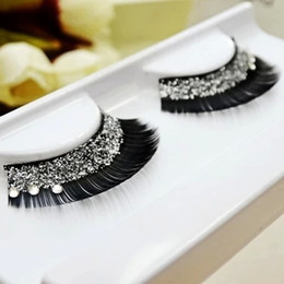 Wholesale Strip Sequins - Fashion Stage Crystal False Eyelashes Glitter Bright And Creative Bridal Makeup False Eyelashes Sequin Thick False Eyelashes