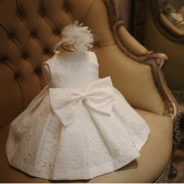 Wholesale Spring Lace Hats - Baby Clothes Girls Dresses Big Bow Lace Floral Wedding Dress+Hat 2 Pieces Summer Infant Tutu Skirt