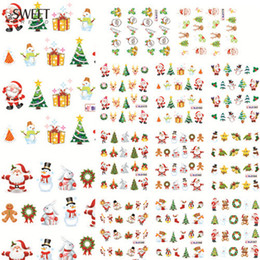 Wholesale Christmas Nail Polish Stickers - Wholesale- 11 Designs In 1 Christmas Santa Snowman Tree Water Transfer Decals Nail Stickers Foil Polish Wraps Decorations #BLE1577-1587