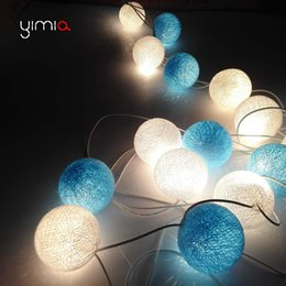 Wholesale Cotton Fairy String Lights - Wholesale- YIMIA 2017 White Blue Cotton Ball String Light Garland Led Fairy Holiday Christmas Lights Wedding Room Decoration lights CT48