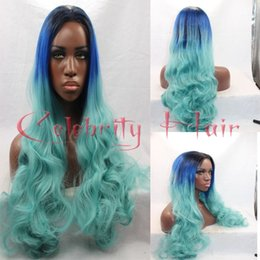 Wholesale Cheap Blue Wigs - Cheap Synthetic Lace Front Wig African American Wavy Wigs For Black Women Ombre Black to Green Lace Front Synthetic Wigs