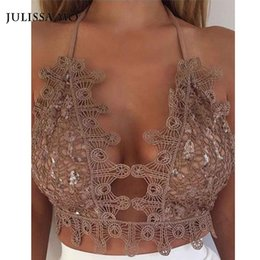 Wholesale Beige Sequin Tank Top - Wholesale- Sinati Gold Sequin Bralet Crochet Crop Top Summer 2016 Sexy Backless Beach Party Cami Lace Bralette Women Tank Top