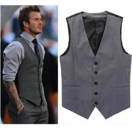 Wholesale Dresses Beckham - Wholesale- Grey Slim Fit Dress Vests For Men David Beckham Formal Mens Suit Vests Wedding Sleeveless Jacket Blazer Chaleco Hombre