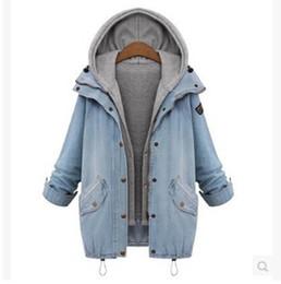 Wholesale Women Jean Coat - New Coats Autumn Women Casual Two Piece Hoodied Jean Coat Plus Size Thick Windbreaker Outwear Clothing