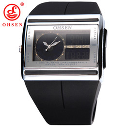 Relojes de alarma analógicos online-OHSEN Marca Fashion Square Electronic LED reloj Dual Digital y Analog Mens Alarm Sport reloj de pulsera de cuarzo al por mayor W026