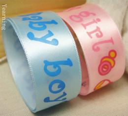 carta de regalo botella Rebajas Ancho 25mm Cinta con letra BABY BOY BABY GIRL y biberón para DIY Headwear Boda Fiesta Festivo Evento Decoración Wrap zd006